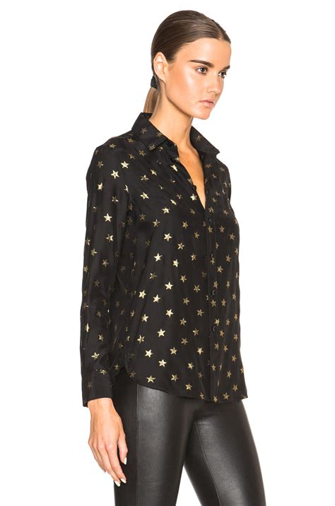 black and gold blouse laurent print blouse in black lyst