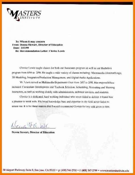 exles of letter of recommendation sle letter of recommendation for graduate school 31959