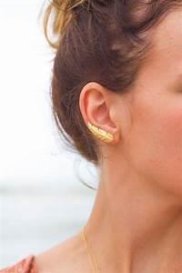 bijou d39oreille plume plaque or pretty wire With bijoux oreille