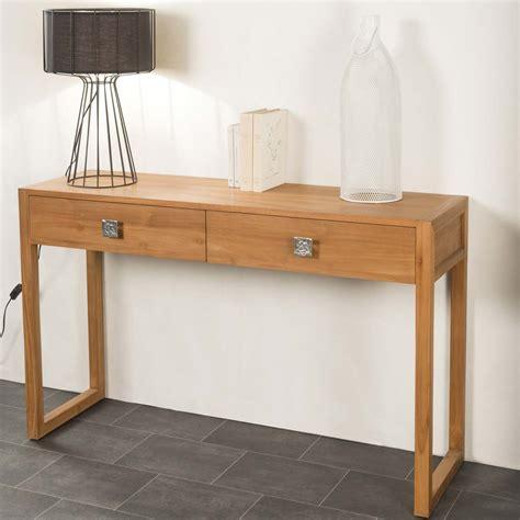 console en bois console de salon en bois de teck massif th 233 a rectangle naturel l 130 cm