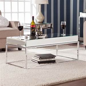 adelie contemporary mirrored metal living room coffee With contemporary mirrored coffee table