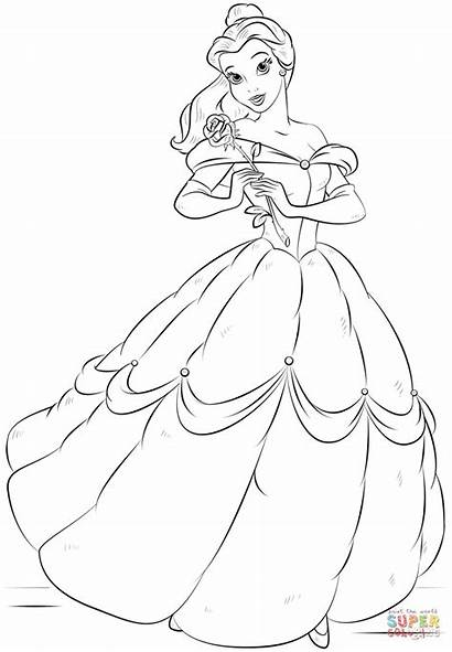 Belle Coloring Pages Drawing Princess Printable Disney