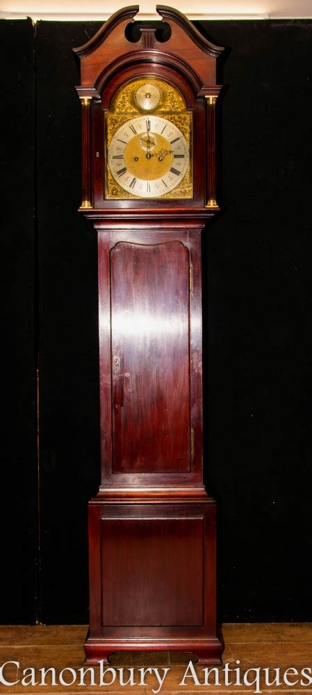 antique grandfather clock mahogany maple   circa