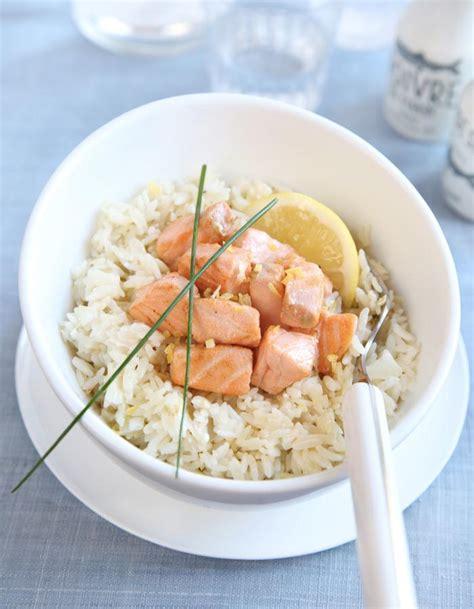 label cuisine recette riz a poêler au saumon et crème fraiche recette