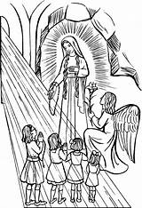 Coloring Rosary Lady Catholic Feast October Virgen sketch template