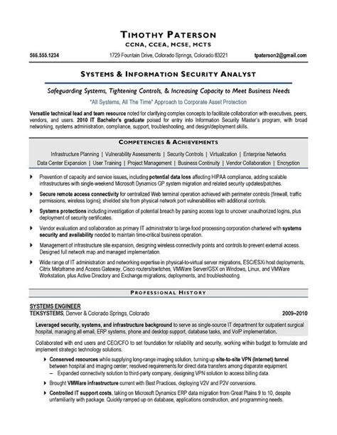 Information Security Resume by Information Security Analyst Resume Printable Planner