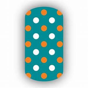 Aqua with Light Orange & White Small Polka Dots Nail Wraps