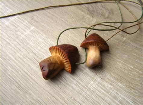 mushroom pendant avocado stone carving natural jewelry