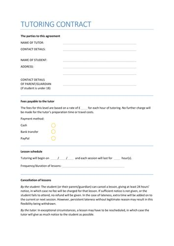 tutoring contract template uk private tuition contract by paul 911 teaching resources