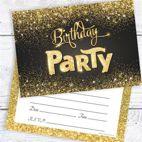 Black and Gold Birthday Party Invitations Ready to Write