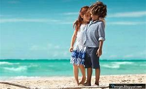 Little, couple, kids, hug, cute, beach