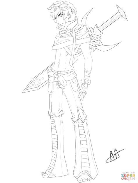 Anime Kleurplaat by Gaia Anime Boy Character Coloring Page Free Printable