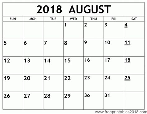 august 2018 calendar template free printable calendar august 2018 free printables 2018