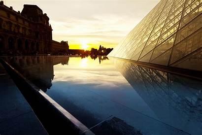 Sunset Paris Louvre Pyramid Reflection Buildings