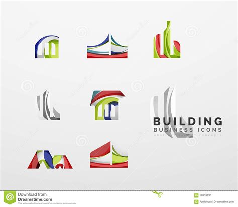 set of real estate or building logo business icons stock