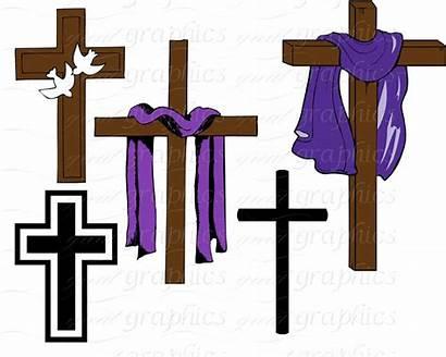 Cross Easter Clipart Draped Clip Lent Christian