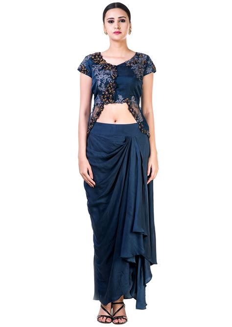 draped skirt embroidered navy blue jacket style top with a draped skirt