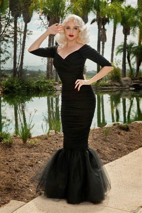 laura byrnes california monica mermaid dress  black