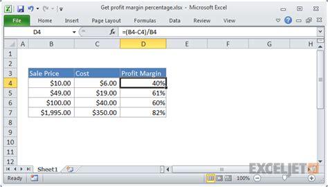 r sum template excel formula get profit margin percentage exceljet