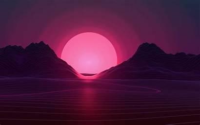 Retro Wave Sun Neon Sunset Mountains Wallpapersden