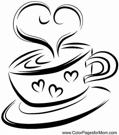 Coffee Coloring Line Cup Pages Drawing Vector
