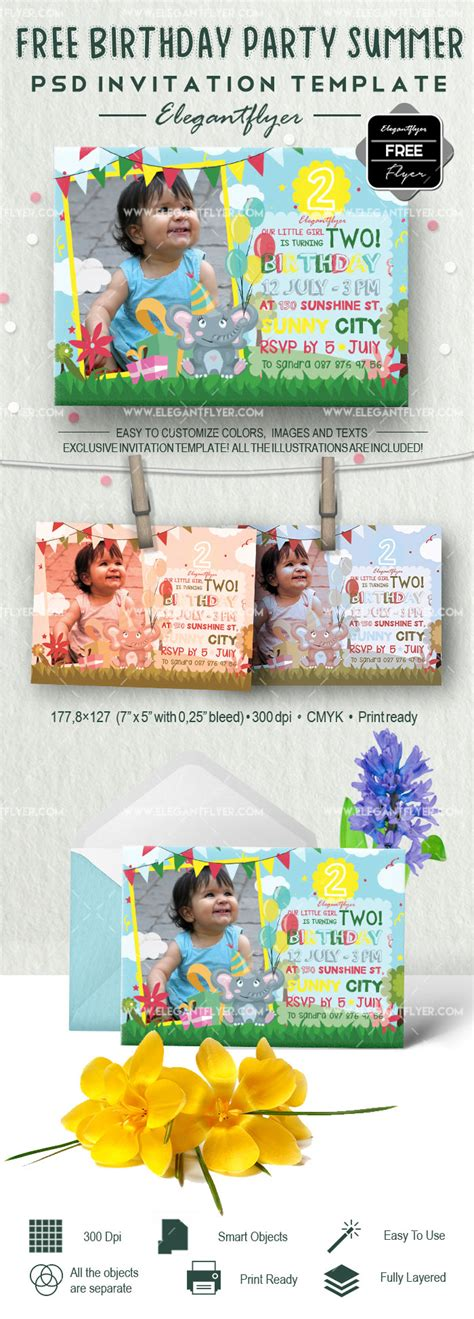 Free Birthday Party Summer Invitation PSD Template by