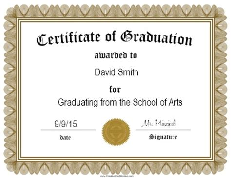 Graduation Gift Certificate Template Free by Graduation Certificate Templates Certificate Templates