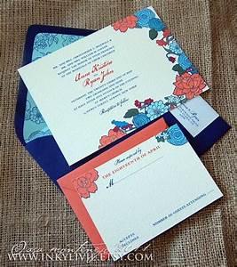 royal blue and coral invitations wedding invitations With royal blue and coral wedding invitations