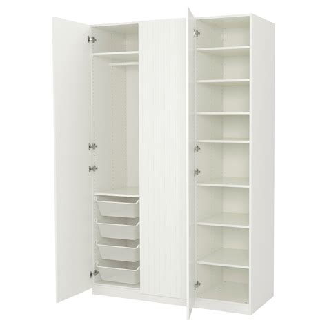 porte habits chambre pax wardrobe white marnardal striped white beige