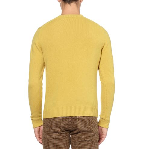 yellow cable knit sweater slowear zanone cable knit wool sweater in yellow for