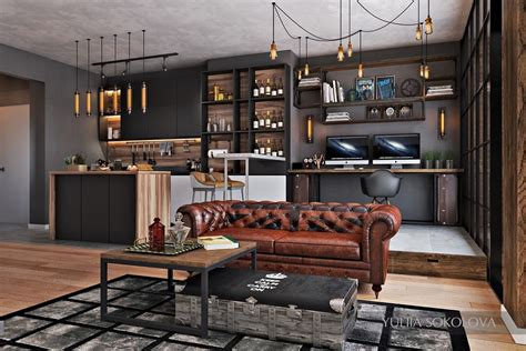Small Modern Industrial Apartment by Industrial Style 3 Modern Bachelor Apartment Design