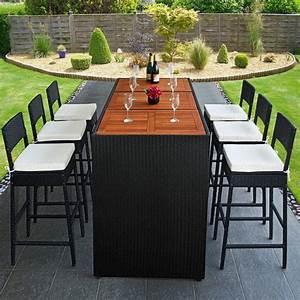 Table De Jardin Tressé : bar de jardin en r sine tress e noir et bois exotique 6 ~ Nature-et-papiers.com Idées de Décoration
