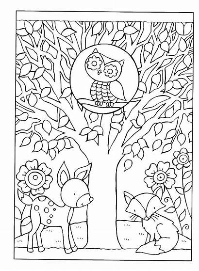 Coloring Fall Autumn Pages Printable Tree Adults