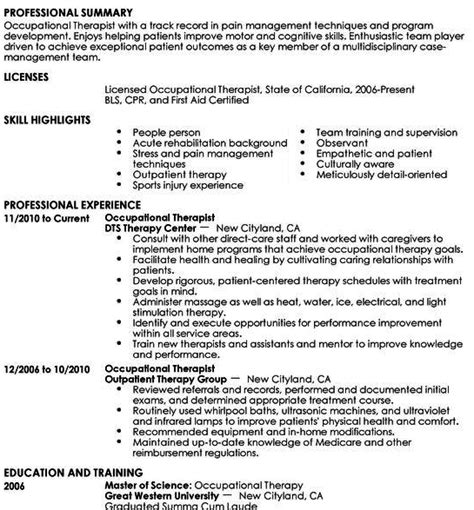 Cota Resume by Occupational Therapy Resume Template Tips To