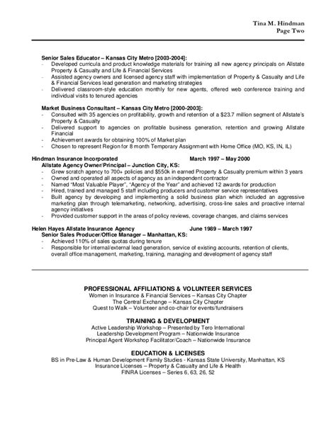 Insurance Agency Manager Resume by Tina Hindman Resume 2011