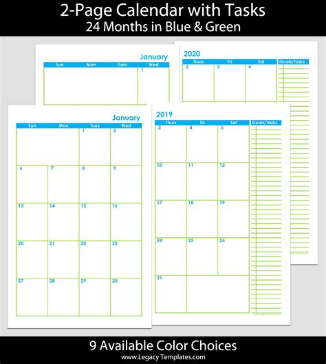 months page calendar legacy templates