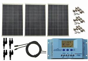 Windynation 300 Watt 12v Polycrystalline Solar Panel Complete Kit With Lcd Pwm Solar Charge