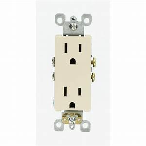 Leviton Decora 15 Amp Duplex Outlet  Light Almond-r56-05325-0ts