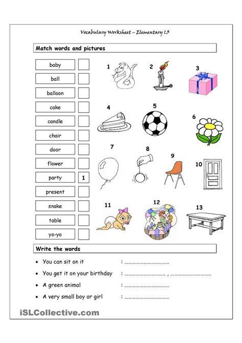 vocabulary matching worksheet elementary  english
