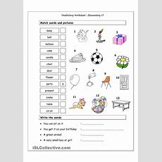 Vocabulary Matching Worksheet  Elementary 13  English For Children  Vocabulary Worksheets