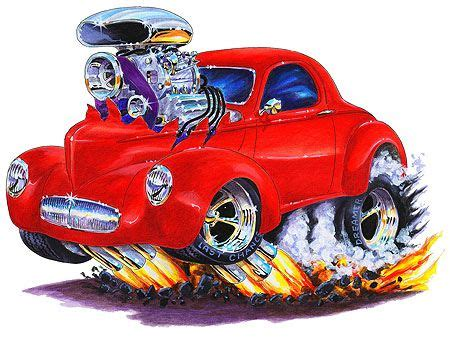 willys hot rod muscle car art cartoon tshirt