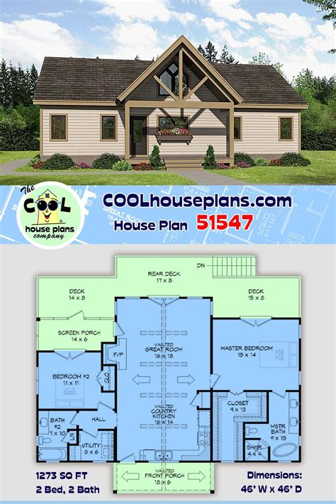 Traditional Style House Plan 51547 with 2 Bed 2 Bath in