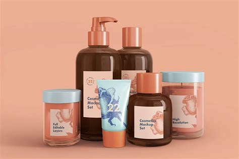 This free cosmetic mockup consists of smart object layer, therefore its very easy to customize and update. Free Cosmetics Mockup Set | Mockuptree
