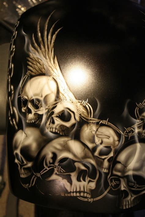 Skulls Air Brushed On Motorcycles