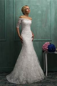 mermaid off the shoulder short sleeve lace wedding dress With off the shoulder short wedding dress
