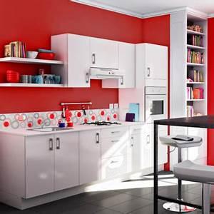 carrelage cuisine rouge castorama With exceptional cuisine mur rouge meuble blanc 15 deco salon miroir