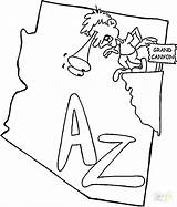 Arizona Coloring Map Pages State Canyon Printable Grand Osu Symbols Ohio Flag Template Getcolorings Print America North Categories sketch template