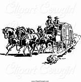 Stagecoach Fargo Wells Coloring Clipart West Template Cowboy sketch template