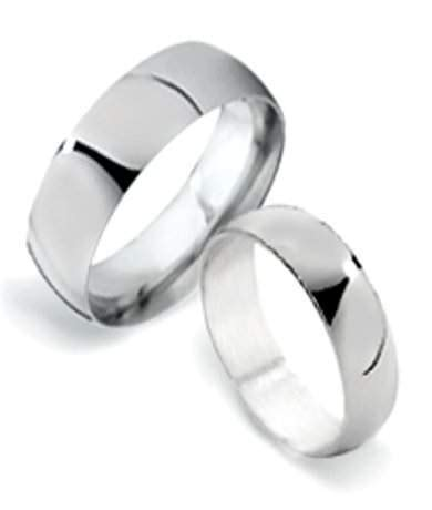 mm classic sterling silver matching couple wedding rings