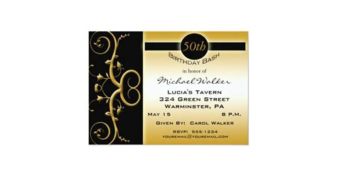50th Birthday Party in Elegant Black and Gold Invitation